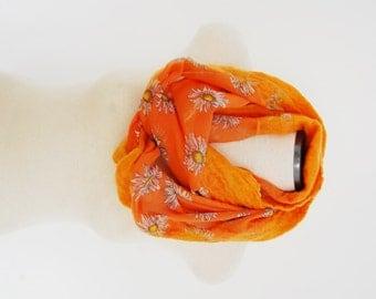 Nuno Felt Infinity Scarf Orange Infinity Scarf Flower Scarf Chiffon and Merino Wool Scarf Nuno Felted Scarf Felt Scarf Circle Scarf Loop