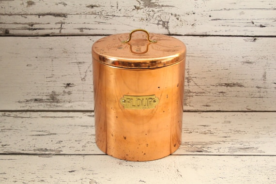 vintage copper flour canister tin lined lidded top solid brass