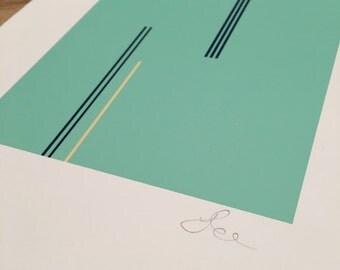 Viridian Hue with Viridian Green Lines Print