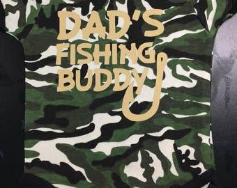 Dad's Fishing Buddy Hunting Bodysuit One Piece Camo