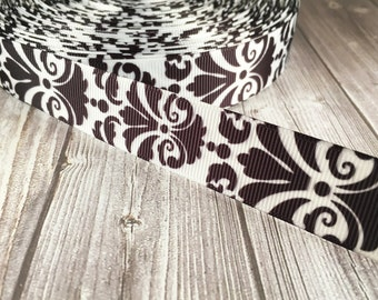 "Damask ribbon - Black and white - Wedding ribbon - 7/8"" Grosgrain ribbon - Wedding ribbon - Baby shower ribbon - Black damask - White damask"
