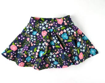 Floral Skater Skirt, floral skirt, Floral circle skirt, baby girl skirt, toddler skirt, girls skirt, skirt and bloomers,