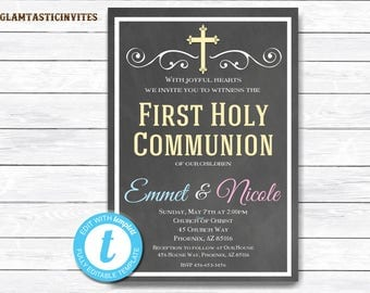 First Communion Invitation Twin,Sibling First Communion Invitation, First Communion Invitation Printable, First Communion, INSTANT DOWNLOAD