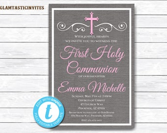 First Communion Invitation Girl, Girl First Communion Invitation, First Communion Invitation Printable, First Communion, INSTANT DOWNLOAD