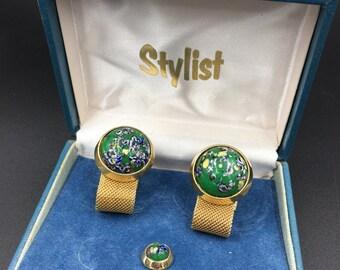 Cufflinks Vintage Millefiori green glass cufflink set. cufflinks and tie tac. Great gift for dad.