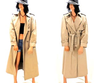 Vintage 70's khaki trench coat / 1970s double breasted trench / removable liner / size M / London Towne / retro 70s full length tan raincoat