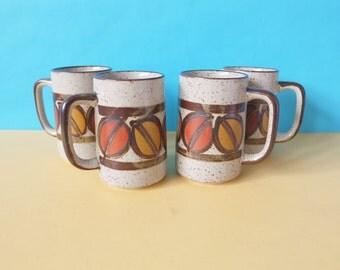 Vintage Stoneware Mug Set, Retro Mugs, Beer Mugs, 1970s Cups, Drinkware, Speckled  Hand Painted Ceramic Drinking Vessel, Unique