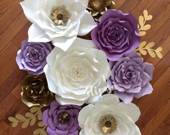 9 pc Paper Flowers, nursery, toddler room, home decor