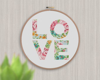 BOGO FREE! Love Cross Stitch Pattern, Floral love Counted Cross xStitch, Silhouette Flowers letters, Modern, PDF Instant Download  #025-24