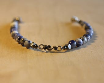 Seahorse bracelet with semi precious sodalite beads, hematite accent beads and magnetic clasp,