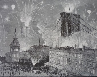 Brooklyn Bridge Dedication Ceremony Fireworks - from 1883 etching - many sizes available - view of Fulton Ferry gift for New Yorker