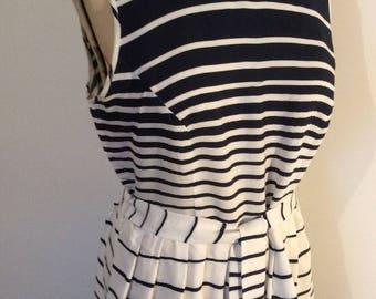 50s Style Dress Blue & White Stripe - Tea Dress - Day Dress - Swing Rockabilly - Nautical Dress - Sun Dress