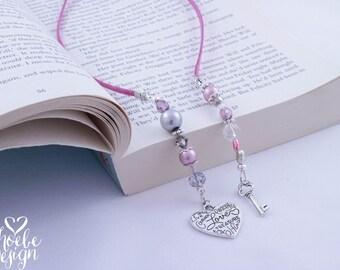 Heart & Key Beaded Book Mark