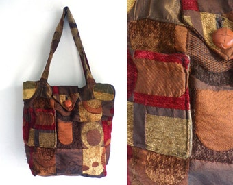 90s Fabric Red & Brown Geometric Abstract Print Purse, Shoulder Bag, Vintage Geometric Bag, Abstract Purse, Retro Purse, Double Handle Purse