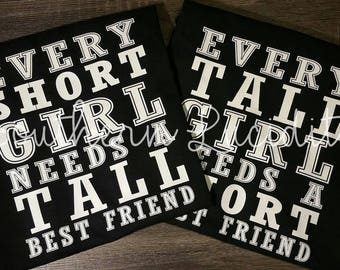 Best Friend shirts, BFF outfits, Besties shirts, BFF top Tall One Short One T-shirts. Sisters, Gifts for her, Gifts for friends Girls Teens