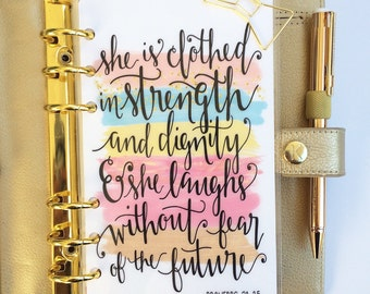 """Planner Dashboard: """"She Is Clothed"""", 10 Mil Laminated and Punched"""