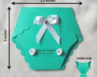 Handmade Baby Shower Diaper Invitation Card
