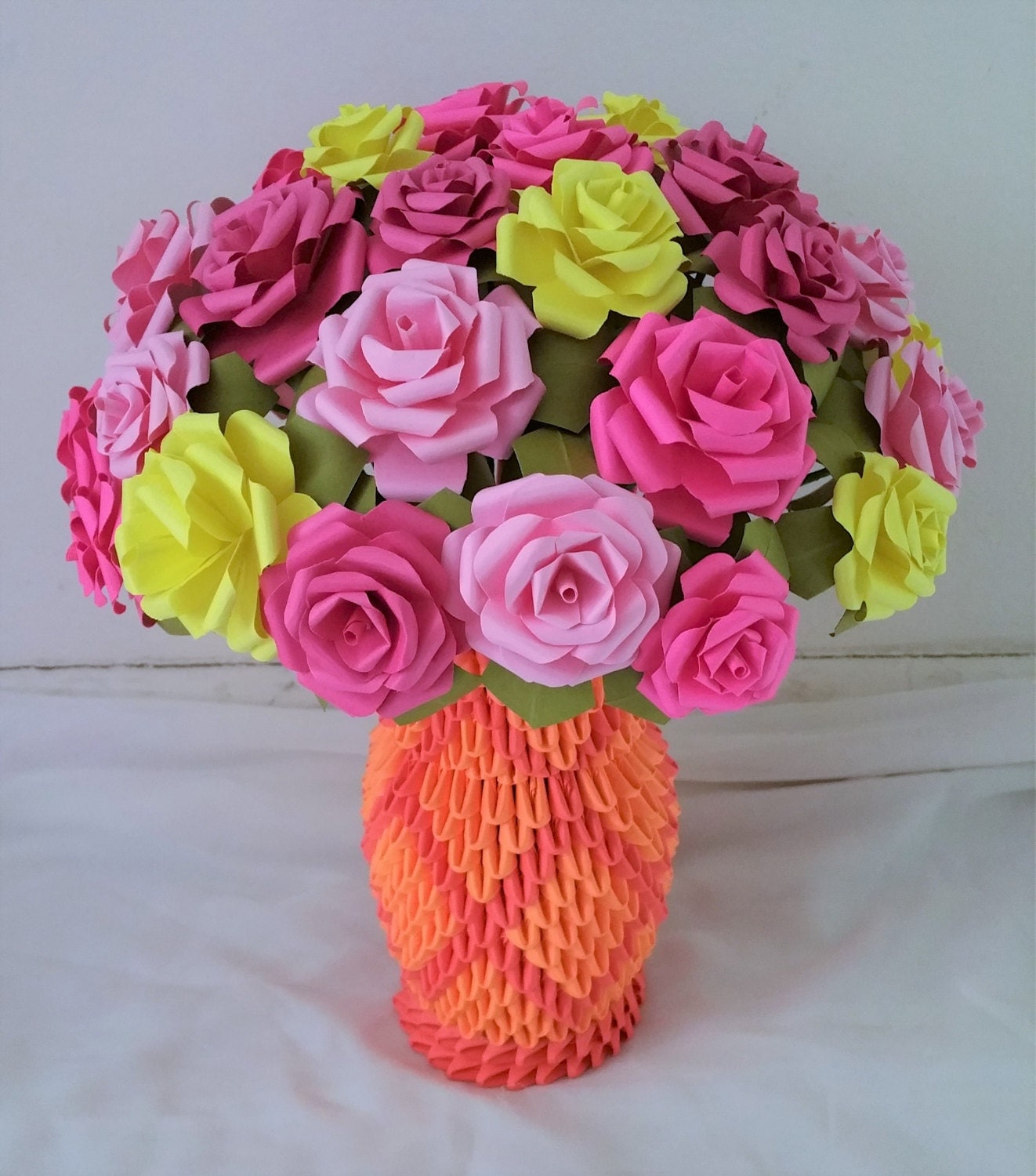 3d Origami Flower Vase / Paper Roses / Centerpiece / Wedding - photo#45