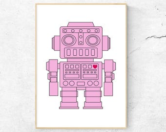 Pink Girl Robot Poster, Printable Wall Art, Digital Download, Nursery Decor, Girls Room Toy Art, Kids Poster, Red Heart, Pink Nursery
