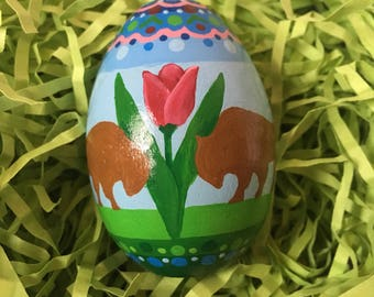Hand painted Buffalo couple with red tulips ornate top wooden egg