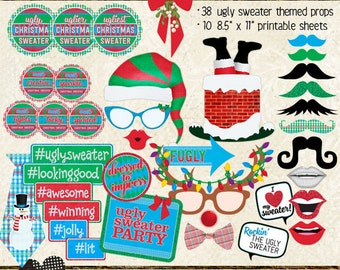 Photo Booth Props, UGLY SWEATER PARTY, printable sheets, instant download, holiday, Christmas