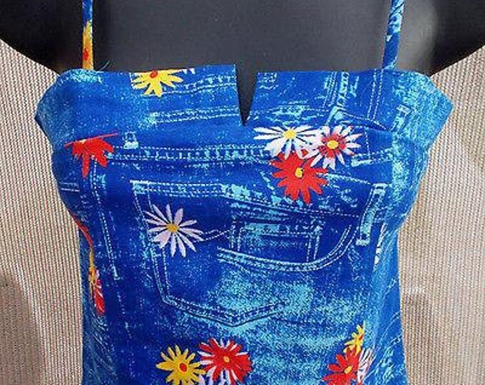 Vintage 90s Nina Piu Polyester Blue Red Yellow Daisy Womens Summer Spaghetti Strap Crop Top Size S