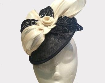 Handmade millinery large black cream flower fascinator for Spring Racing