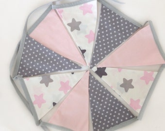 Fabric bunting flags, girl baby shower decoration, blush pink grey nursery, photo prop , stars garland, reversible