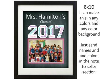 Class gift to teacher, personalized, printable digital file, End of the year teacher gift, 8x10 printable teacher gift. teacher appreciation
