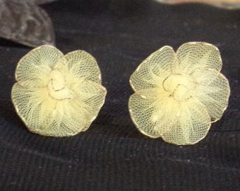 Yellow Flower Earrings, Vintage Flower Earrings, Mid-Century Gold and Yellow Earrings