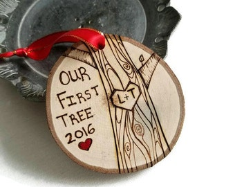 Custom ornament, Couples ornament, our first Christmas, our first tree, initials ornament, Christmas ornaments, first tree ornament