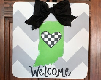 Indianapolis 500 Race Fans, State of Indiana Door Hanger, Race Day Decor, Indy 500 Door Hanger, Checkered Flag Door Sign (Attachment Only)