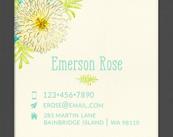 Personalized Business Card, Square Card, Watercolor Mum, Calling Card, Contact Card