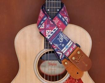Thai Style Red&Blue Guitar strap