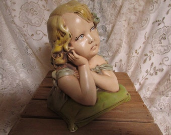 VTG Statue little daughter on cushion in plaster / Plaster Young Girl VTG / VINTAGE little girl in plaster bust