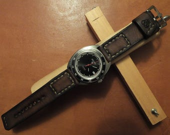 Handmade leather watch strap and buckle - vintage chocolate brown