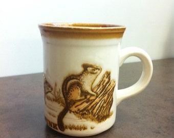 Vintage Coffee Mug - Biltons of England - Embossed Chipmunk Decorated - Stoneware Mug