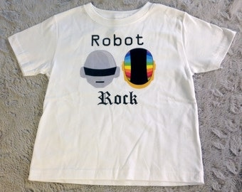 Daft Punk Inspired Robot Rock Toddler White T Shirt Clothing House Music Electronica DJ