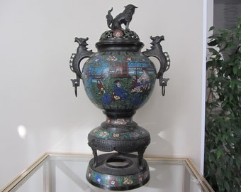 Great China burning perfume in bronze décor champlevé enamel dog Fo dragons - 20699 Interior scene