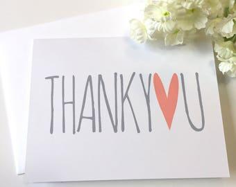 Thank You Card - Heart - Bridal Thank You - Bride Thank You Note - Baby Thank You - Wedding Thank You - Thanks - Thank You Card Set