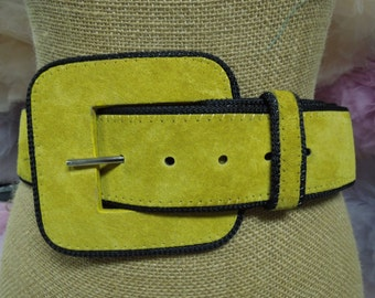 VINTAGE:  80s Mustard Yellow Suede Leather Wide Belt /Belt Buckle/Beautiful Belt.{D4-126#00403}