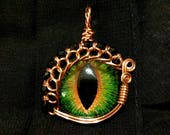 Hazel (Green/Brown) Hand-Painted Dragon Eye Pendant w/Copper & Black Beaded Wire Wrap (with Necklace)