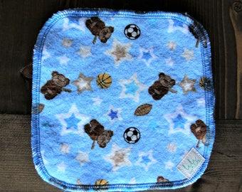 5 Baby Cloth Wipes, Bamboo Terry, Cotton Flannel, Blue, Sporty Teddy Bears, Baseball, Soccer, Basketball, Football