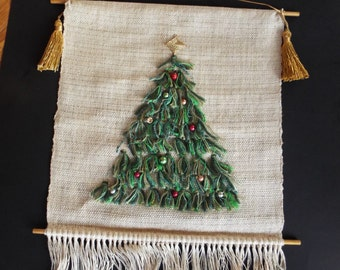 1960s mid century modern handmade Retro  Christmas tree banner burlap wall hanging