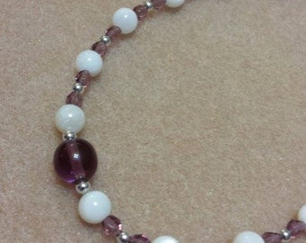 Girls Birthstone Crystal Necklace - FEBRUARY