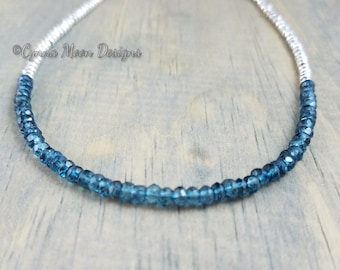 London Blue Topaz & Silver Hematite Necklace