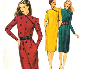 80s Style 2886 Modern Cheongsam Dresses with Side Yoke, Stand Collar & Two Sleeve Lengths, Uncut, Factory Folded, Sewing Pattern Size 14-16