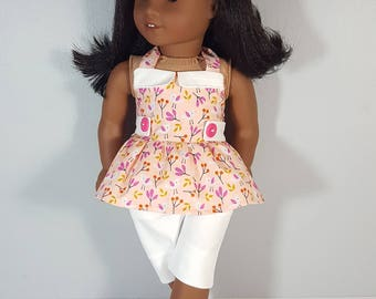 18 inch doll clothing Bird in Coral Top