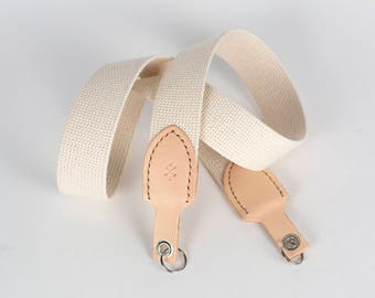 leather and cotton camera strap - grass