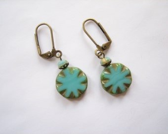 Turquoise earrings, turquoise glass, abstract flower, Czech glass, Czech flowers, turquoise disc drops